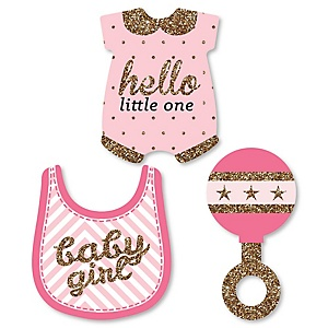 Hello Little One - Pink and Gold - Shaped Girl Baby Shower Paper Cut-Outs - 24 ct