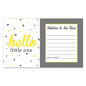 Hello Little One - Yellow and Gray - GirlBaby Shower Helpful Hint Advice Cards Game - 18 Count