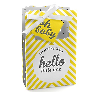 Hello Little One - Yellow and Gray - Personalized Girl Baby Shower Favor Boxes