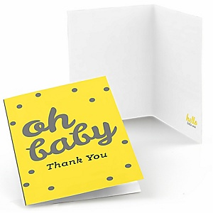 Hello Little One - Yellow and Gray - Girl Baby Shower Thank You Cards - Set of  8
