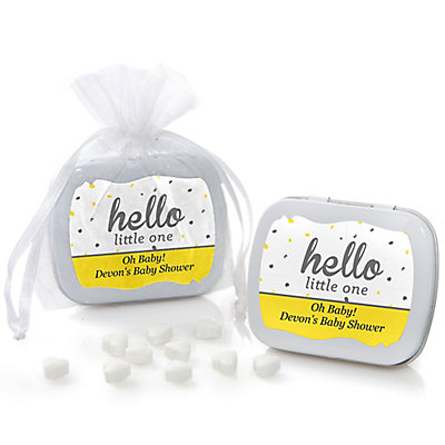 Hello Little One - Yellow and Gray - Personalized Neutral Ba...