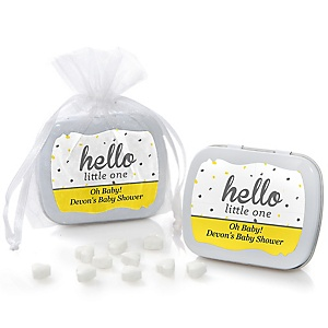 Hello Little One - Yellow and Gray - Mint Tin Personalized Girl Baby Shower Favors