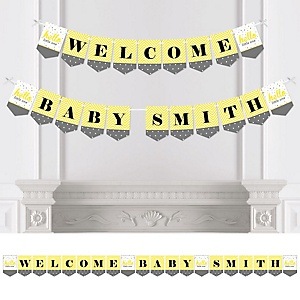 Hello Little One - Yellow and Gray - Personalized Girl Baby Shower Bunting Banner