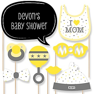 Hello Little One - Yellow and Gray - Girl Baby Shower Photo Booth Props Kit - 20 Props