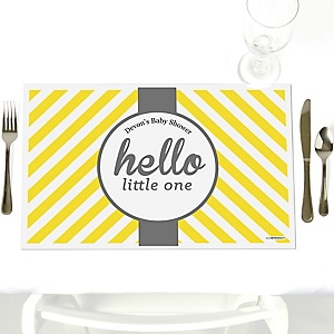 Hello Little One - Yellow and Gray - Personalized Neutral Baby Shower Placemats