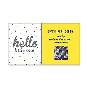 Hello Little One - Yellow and Gray - Personalized Girl Baby Shower Scratch-Off Game – 22 Count