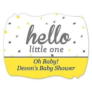 Hello Little One - Yellow and Gray - Personalized Girl Baby Shower Squiggle Sticker Labels - 16 Count