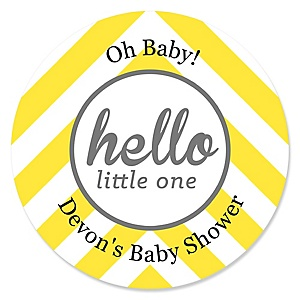 Hello Little One - Yellow and Gray - Personalized Girl Baby Shower Round Sticker Labels - 24 Count
