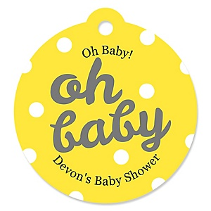 Hello Little One - Yellow and Gray - Personalized Girl Baby Shower Round Tags - 20 Count
