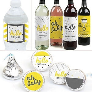 Hello Little One - Yellow and Gray  - Neutral Baby Shower Decorations & Favors Kit – Wine, Water and Candy Labels Trio Sticker Set