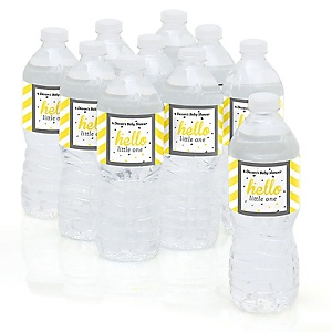 Hello Little One - Yellow and Gray - Baby Shower Personalized Water Bottle Sticker Labels - 10 Count