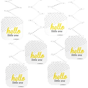 Hello Little One - Yellow and Gray - Girl Baby Shower Hanging Decorations - 6 Count