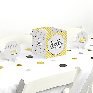 Hello Little One - Yellow and Gray - Neutral Baby Shower Centerpiece & Table Decoration Kit