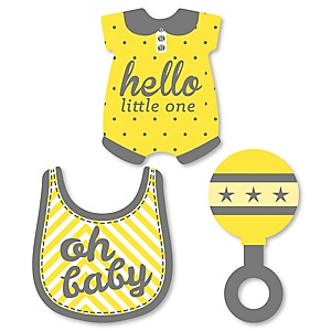 Hello Little One - Yellow and Gray - Shaped Neutral Baby Shower Paper Cut-Outs - 24 ct