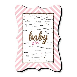 Hello Little One - Pink and Gold - Unique Alternative Guest Book - Girl Baby Shower Signature Mat