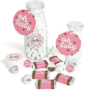 Hello Little One - Pink and Gold - Girl Baby Shower Decorations Favor Kit - Party Stickers & Tags - 172 pcs