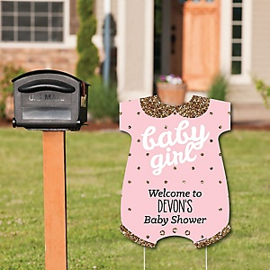 Hello Little One - Pink and Gold - Party Decorations - It's A Girl Baby Shower Personalized Welcome Yard Sign