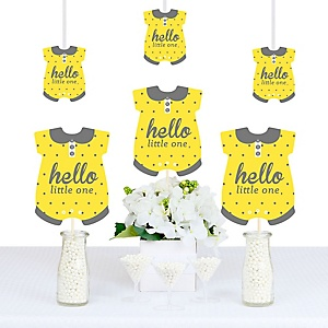 Hello Little One – Yellow and Gray - Onesie Neutral Baby Shower Decorations DIY Party Essentials - Set of 20