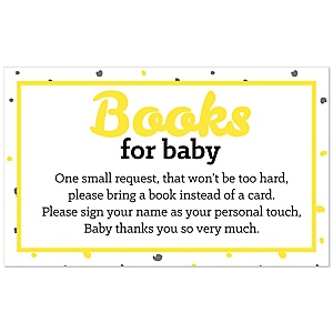 Hello Little One – Yellow and Gray - Baby Shower Book Instead of Card Request Insert – Set of 18