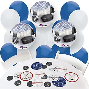 Shoots & Scores! - Hockey - Confetti and Balloon Party Decorations - Combo Kit