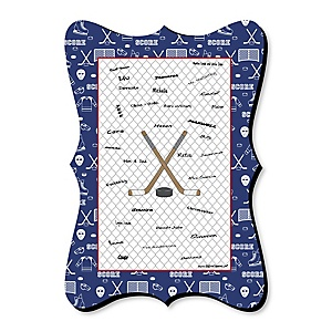 Shoots & Scores! - Hockey - Unique Alternative Guest Book - Baby Shower or Birthday Party Signature Mat