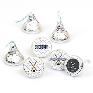 Shoots & Scores! - Hockey - Party Favors Round Baby Shower Candy Labels - Fits Hershey's Kisses - 108 Count