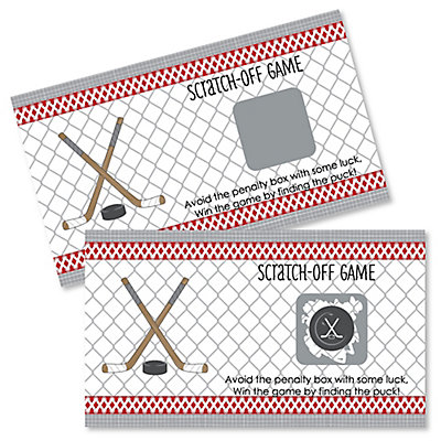 Shoots & Scores! - Hockey - Personalized Party Game Scratch Off Cards - 22 Ct