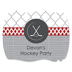 Shoots & Scores! - Hockey - Personalized Baby Shower Squiggle Sticker Labels - 16 Count