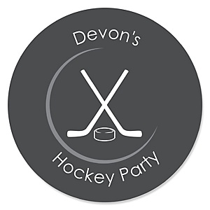 Shoots & Scores! - Hockey - Personalized Baby Shower Round Sticker Labels - 24 Count