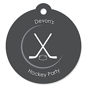 Shoots & Scores! - Hockey - Personalized Baby Shower Round Tags - 20 Count