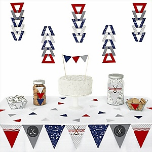Shoots & Scores! - Hockey - 72 Piece Triangle Party Decoration Kit