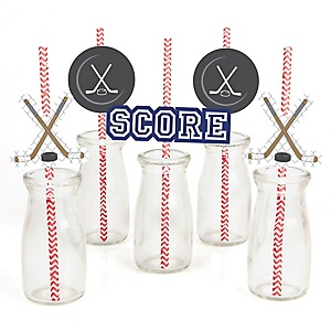 Shoots & Scores! - Hockey - Paper Straw Decor - Baby Shower or Birthday Party Striped Decorative Straws - Set of 24