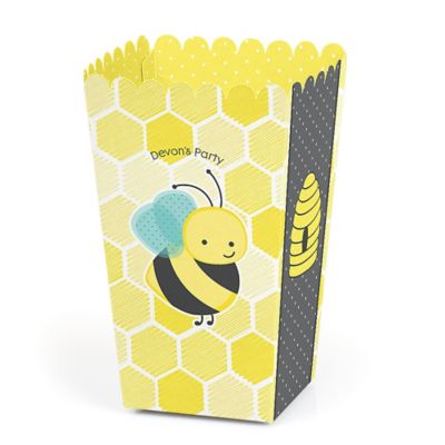 honey bee party popcorn favor boxes