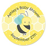 Honey Bee - Personalized Baby Shower Round Sticker Labels - 24 Count
