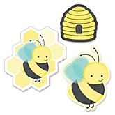 Honey Bee - Shaped Party Paper Cut-Outs - 24 ct