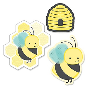 Honey Bee - Shaped Baby Shower Paper Cut-Outs - 24 Count