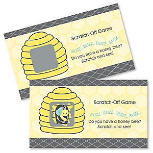Honey Bee - Personalized Baby Shower Scratch-Off Game – 22 Count