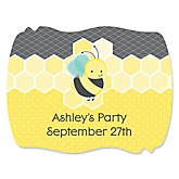 Honey Bee - Personalized Baby Shower Squiggle Sticker Labels - 16 Count