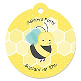 Honey Bee - Personalized Baby Shower Round Tags - 20 Count