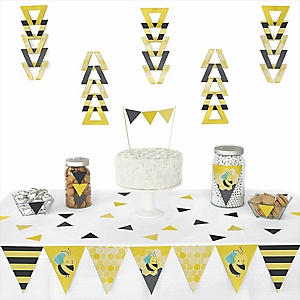 Honey Bee - Baby Shower Triangle Decoration Kits - 72 Count