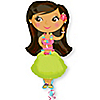 Hula Girl - Bridal Shower Mylar Balloon