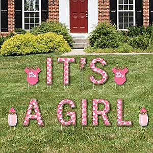 It's A Girl - Yard Sign Outdoor Lawn Decorations - Girl Baby Shower And Baby Announcement Yard Signs