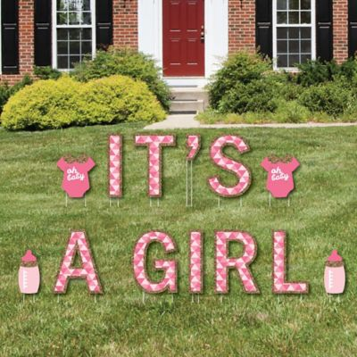 Itu0027s A Girl   Yard Sign Outdoor Lawn Decorations   Girl Baby Shower And Baby  Announcement