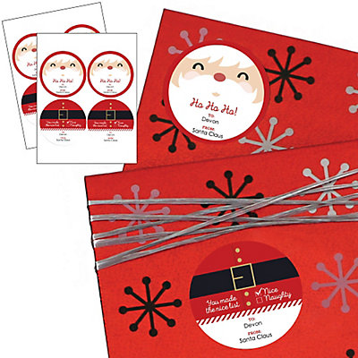 Jolly Santa - Large Round Sticker Personalized Christmas Gift Tags - Set of 8