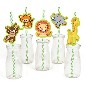 Funfari™ - Fun Safari Jungle - Paper Straw Decor - Baby Shower or Birthday Party Striped Decorative Straws - Set of 24