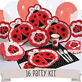 Modern Ladybug - 16 Person Baby Shower Kit