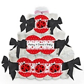 Modern Ladybug - 3 Tier Personalized Square Baby Shower Diaper Cake