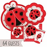 Modern Ladybug - Baby Shower Tableware Bundle for 64 Guests