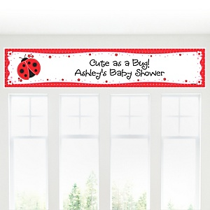 Modern Ladybug - Personalized Baby Shower Banner