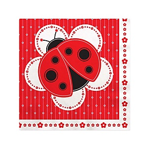 Modern Ladybug - Baby Shower Beverage Napkins - 16 Pack